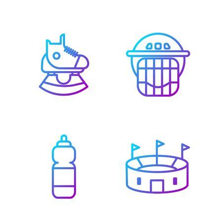 Set line Hockey stadium, Fitness shaker, Skates and Hockey helmet. Gradient color icons. Vector.