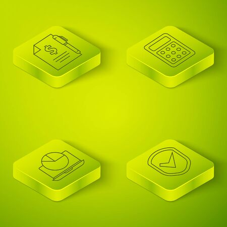 Set Isometric Calculator, Laptop with graph chart, Shield with check mark and Contract money and pen icon. Vector. Standard-Bild - 150262454