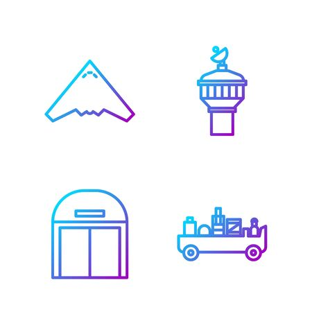 Set line Airport luggage towing truck, Aircraft hangar, Jet fighter and Radar. Gradient color icons. Vector.