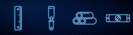 Set line Industry metallic pipe, Ruler, Rasp metal file and Construction bubble level. Glowing neon icon on brick wall. Vector.