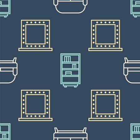 Set line Sofa, Makeup mirror with lights and Library bookshelf on seamless pattern. Vector.