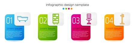 Set line Bathtub, Library bookshelf, Office chair and Coat stand. Business infographic template. Vector. Stock Illustratie