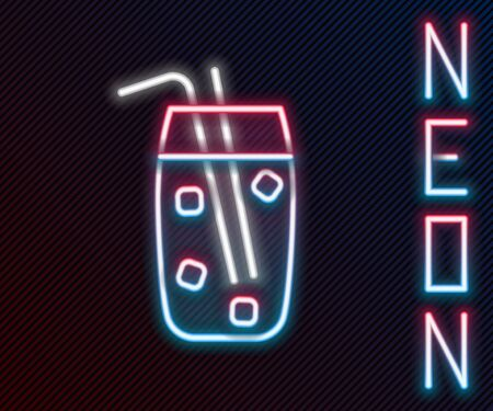 Glowing neon line Cocktail and alcohol drink icon isolated on black background. Colorful outline concept. Vector Illustration.