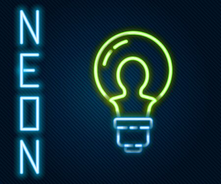 Glowing neon line Light bulb with concept of idea icon isolated on black background. Energy and idea symbol. Inspiration concept. Colorful outline concept. Vector Illustration. Vettoriali