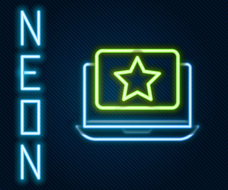 Glowing neon line Laptop with star icon isolated on black background. Favorite, best rating, award symbol. Colorful outline concept. Vector Illustration.