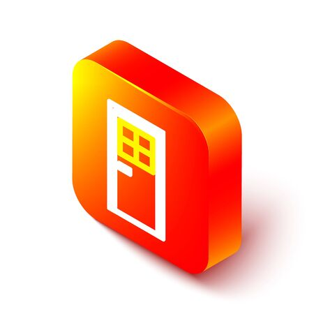 Isometric line Closed door icon isolated on white background. Orange square button. Vector Illustration. 向量圖像