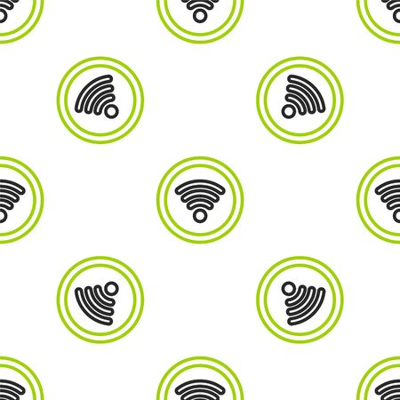 Line Wi-Fi wireless internet network symbol icon isolated seamless pattern on white background. Vector Illustration.