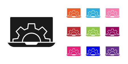 Black Laptop and gear icon isolated on white background. Adjusting app, setting options, maintenance, repair, fixing. Set icons colorful. Vector Illustration.
