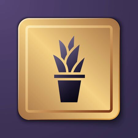 Purple Plant in pot icon isolated on purple background. Plant growing in a pot. Potted plant sign. Gold square button. Vector Illustration. Vettoriali