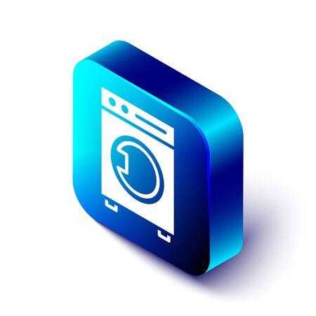 Isometric Washer icon isolated on white background. Washing machine icon. Clothes washer - laundry machine. Home appliance symbol. Blue square button. Vector Illustration. Stock Illustratie