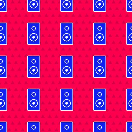 Blue Stereo speaker icon isolated seamless pattern on red background. Sound system speakers. Music icon. Musical column speaker bass equipment. Vector Illustration. Stock fotó - 150398003