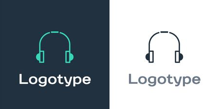 Logotype Headphones icon isolated on white background. Earphones. Concept for listening to music, service, communication and operator. Logo design template element. Vector Illustration.