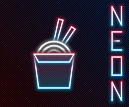 Glowing neon line Asian noodles in paper box and chopsticks icon isolated on black background. Street fast food. Korean, Japanese, Chinese food. Colorful outline concept. Vector Illustration. Vettoriali