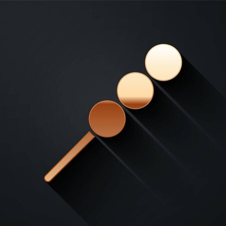 Gold Meatballs on wooden stick icon isolated on black background. Skewer with meat. Long shadow style. Vector Illustration. Ilustração