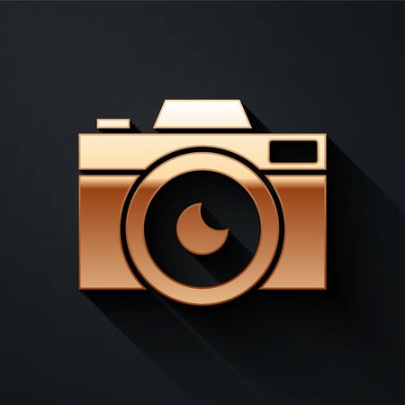 Gold Photo camera icon isolated on black background. Foto camera icon. Long shadow style. Vector Illustration. 일러스트