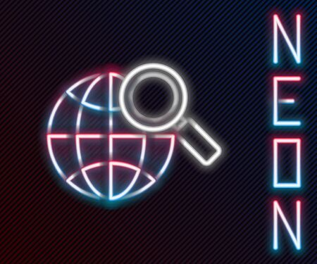 Glowing neon line Magnifying glass with globe icon isolated on black background. Analyzing the world. Global search sign. Colorful outline concept. Vector Illustration.