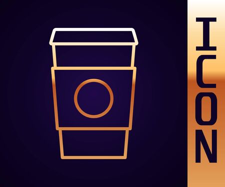 Gold line Coffee cup to go icon isolated on black background. Vector Illustration.
