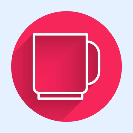 White line Coffee cup icon isolated with long shadow. Tea cup. Hot drink coffee. Red circle button. Vector Illustration.