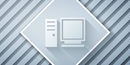 Paper cut Computer monitor icon isolated on grey background. PC component sign. Paper art style. Vector Illustration.