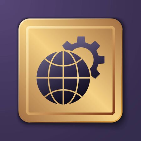 Purple Globe of the Earth and gear or cog icon isolated on purple background. Setting parameters. Global Options. Gold square button. Vector Illustration.