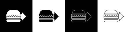 Set Online ordering and burger delivery icon isolated on black and white background. Vector Illustration.