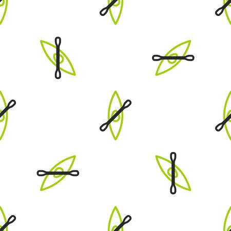 Line Kayak and paddle icon isolated seamless pattern on white background. Kayak and canoe for fishing and tourism. Outdoor activities.  Vector Illustration.
