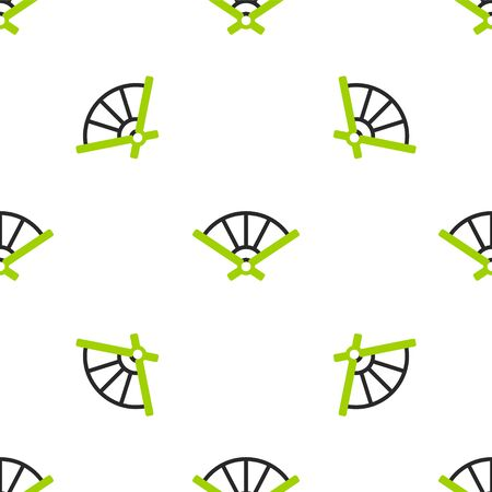 Line Traditional paper chinese or japanese folding fan icon isolated seamless pattern on white background.  Vector Illustration. Stock Illustratie