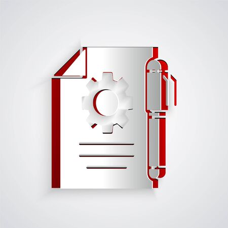 Paper cut Document settings with gears icon isolated on grey background. Software update, transfer protocol, teamwork tool management. Paper art style. Vector Illustration.