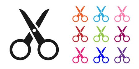Black Scissors icon isolated on white background. Cutting tool sign. Set icons colorful. Vector Illustration. Vectores