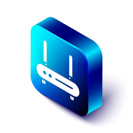 Isometric Router and wi-fi signal icon isolated on white background. Wireless ethernet modem router. Computer technology internet. Blue square button. Vector Illustration.