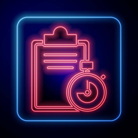 Glowing neon Verification of delivery list clipboard icon isolated on blue background. Vector Illustration.