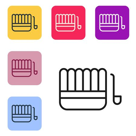Black line Sauna bucket and ladle icon isolated on white background. Set icons in color square buttons. Vector Illustration.