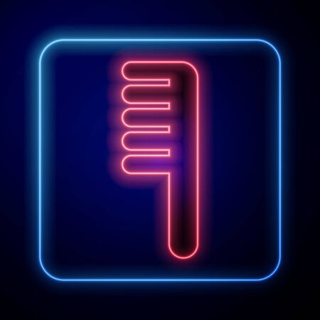Glowing neon Hairbrush icon isolated on blue background. Comb hair sign. Barber symbol. Vector Illustration. Vettoriali
