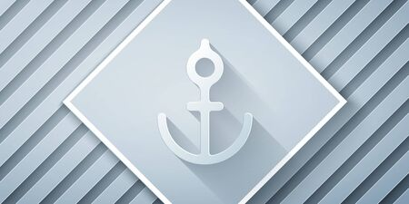 Paper cut Anchor icon isolated on grey background. Paper art style. Vector Illustration. Illustration