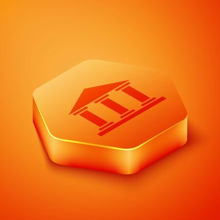 Isometric Museum building icon isolated on orange background. Orange hexagon button. Vector Illustration.