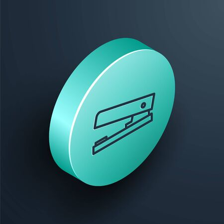 Isometric line Office stapler icon isolated on black background. Stapler, staple, paper, cardboard, office equipment. Turquoise circle button. Vector Illustration. Vettoriali