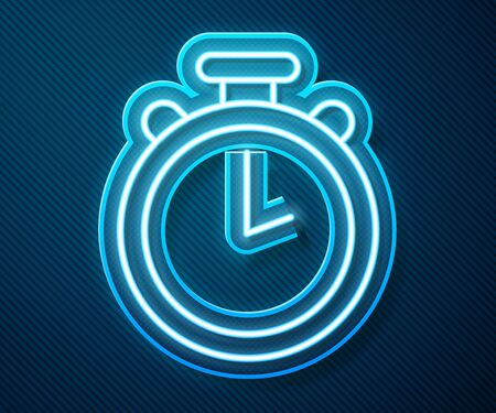 Glowing neon line Stopwatch icon isolated on blue background. Time timer sign. Chronometer sign. Vector Illustration.
