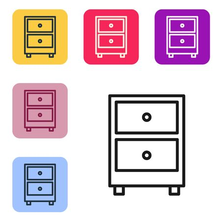 Black line Drawer with documents icon isolated on white background. Archive papers drawer. File Cabinet Drawer. Office furniture. Set icons in color square buttons. Vector Illustration. Archivio Fotografico - 150399223