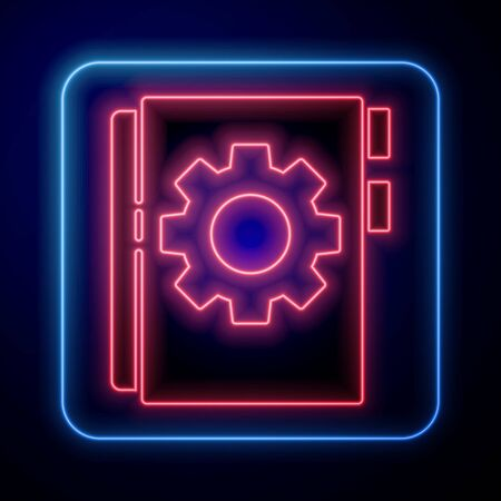 Glowing neon User manual icon isolated on blue background. User guide book. Instruction sign. Read before use. Vector Illustration.