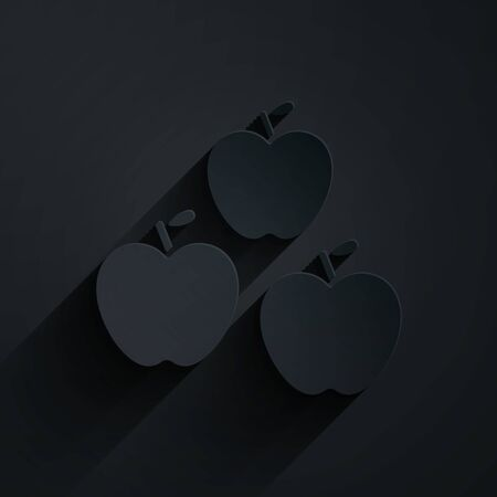 Paper cut Apple icon isolated on black background. Fruit with leaf symbol. Paper art style. Vector Illustration.