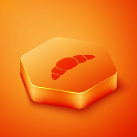 Isometric Croissant icon isolated on orange background. Orange hexagon button. Vector Illustration.