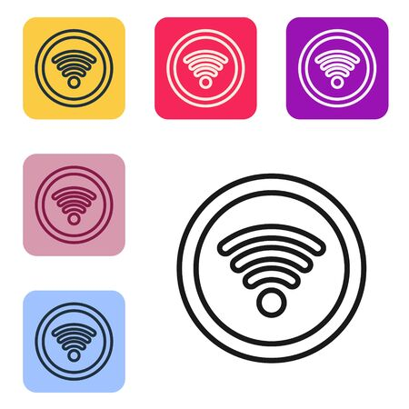 Black line Wi-Fi wireless internet network symbol icon isolated on white background. Set icons in color square buttons. Vector Illustration.