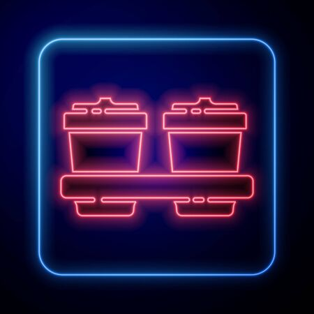 Glowing neon Coffee cup to go icon isolated on blue background. Vector Illustration.