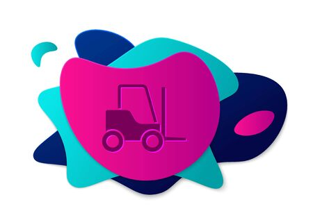 Color Forklift truck icon isolated on white background. Fork loader and cardboard box. Cargo delivery, shipping, transportation. Abstract banner with liquid shapes. Vector Illustration.