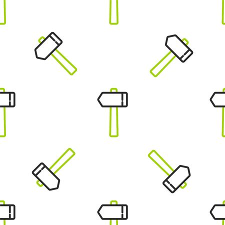 Line Hammer icon isolated seamless pattern on white background. Tool for repair. Vector Illustration.
