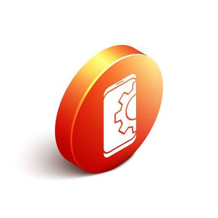 Isometric Setting on smartphone icon isolated on white background. Adjusting, service, setting, maintenance, repair, fixing. Orange circle button. Vector Illustration.