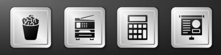 Set Full trash can, Printer, Calculator and Chalkboard with diagram icon. Silver square button. Vector.
