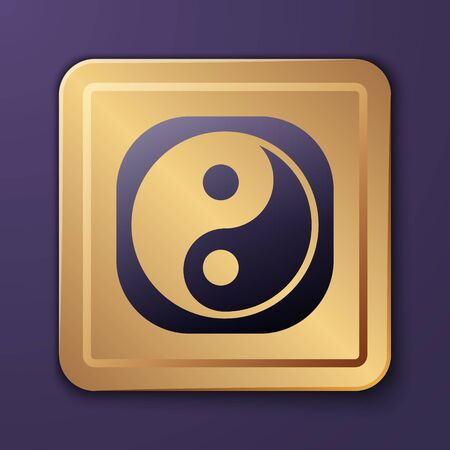 Purple Yin Yang symbol of harmony and balance icon isolated on purple background. Gold square button. Vector Illustration. 일러스트