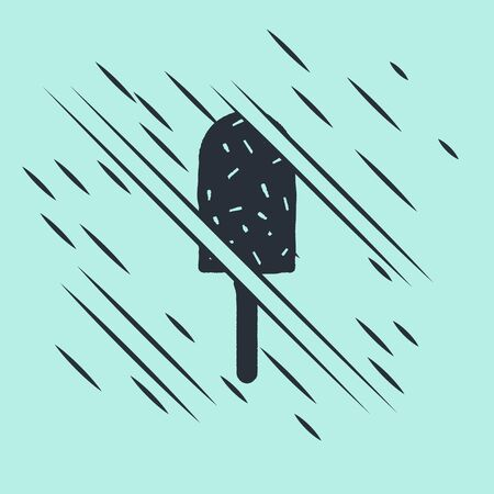 Black Ice cream icon isolated on green background. Sweet symbol. Glitch style. Vector Illustration.