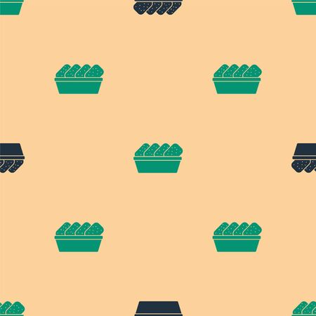 Green and black Chicken nuggets in box icon isolated seamless pattern on beige background.  Vector Illustration.